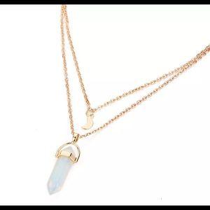 Spiritual Golden Opal Moon Necklace